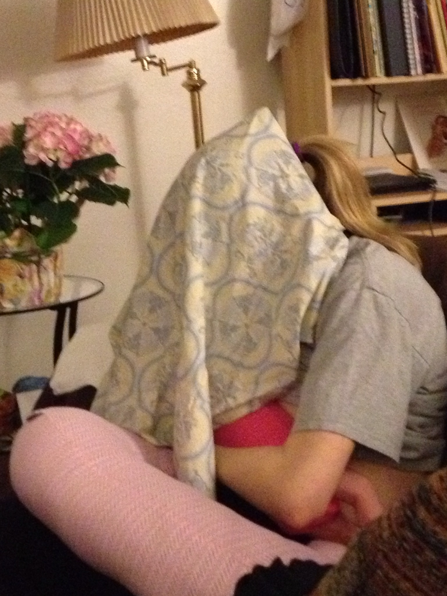 """My daughter didn't like nursing without seeing my face.  So I went """"under cover"""" with her."""